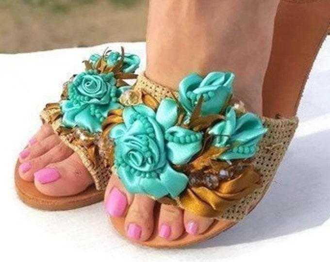 Greek sandals/embroidered/women shoes/handmade sandals slides/crystal sandals/bridal sandals/wedding sandals/summer shoes/roses/leather shoe