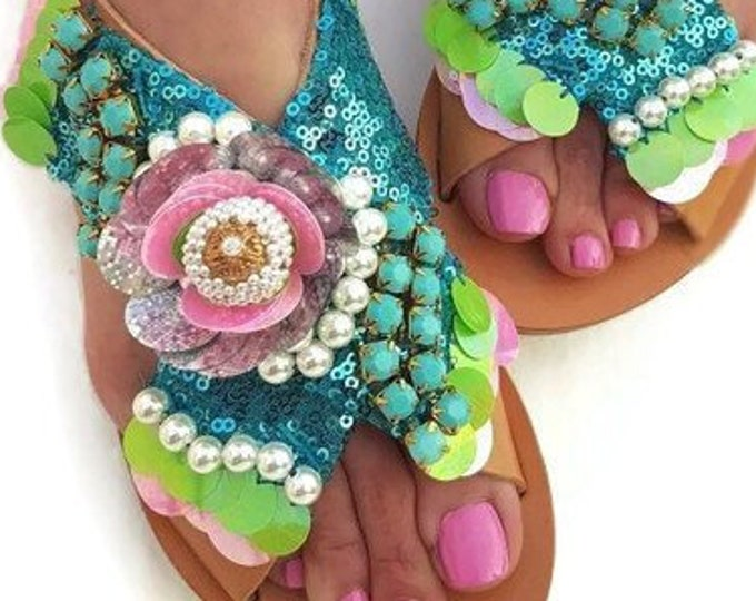 Greek sandals/handmade sandals/strappy sandals/luxury sandals/boho sandals/sequined sandals/pearl sandals/qenuine leather/women flat shoes