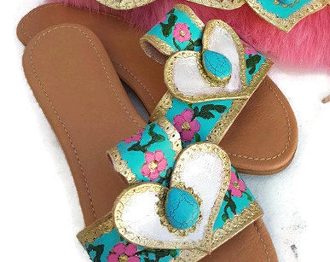 Greek sandals slides/handpainted sandals/pyrography sandals/colorful sandals slides/boho sandals/bohemian shoes/women sandals/summer shoes