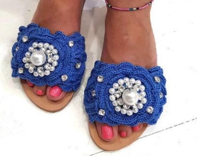 Handmade slides sandals/Greek  sandals/crochet sandals/crystals sandals/pearl sandals/luxury sandals/women shoes/flats/boho sandals