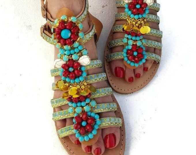 Greek sandals/handmade sandals/strappy sandals/crystals sandals/boho sandals/women shoes/summer shoes/beads sandals/flats/bohemian sandals