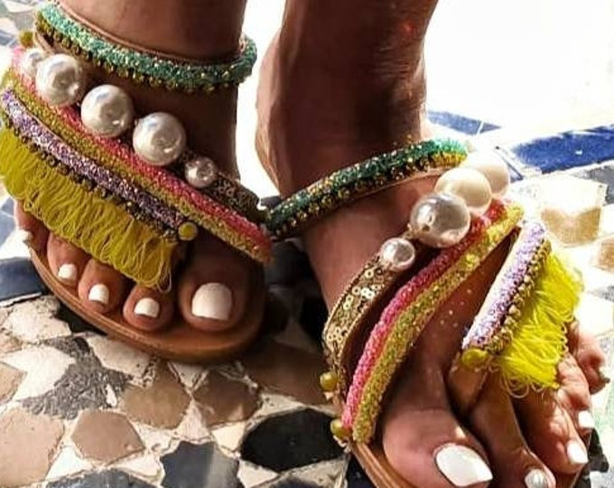 Greek sandals/strappy sandals/pearls sandals/colorful sandals/sparkle sandals/boho sandals/bohemian sandals/handmade sandals/crystal sandals