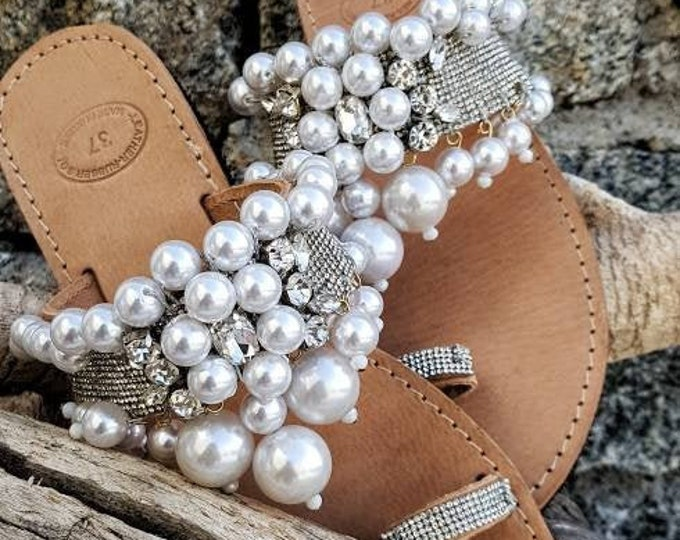 Greek sandals/gladiator sandals/crystals rhinestones sandals/pearls sandals/handmade sandals/wedding sandals/bridal sandals/women shoes/flat