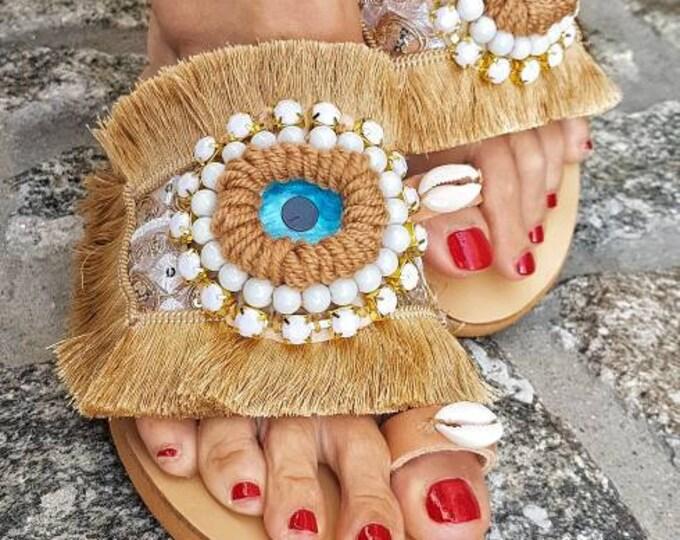 Greek sandals/evil eye sandals/boho sandals/crystal sandals/handmade/shells/women shoes/summer shoes/ethnic sandals/fringes sandal/bohemian