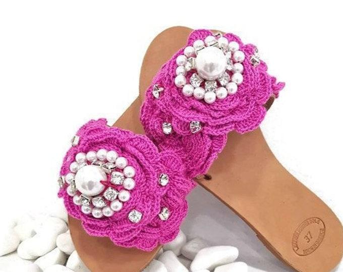 Greek handmade crochet slides sandals/pearls sandals/pink sandals/crystal sandals/flat summer shoes/luxury slides/genuine leather slides
