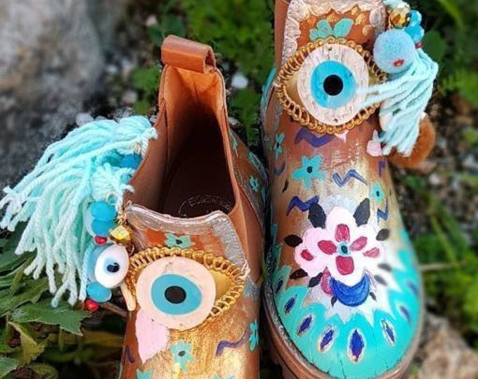 Boots/hand painted boots/pom pom shoes/handmade shoes/evil eyes shoes/leather boots/colorful shoes/Greek shoes/boho/bohemian/ethnic/gypsy