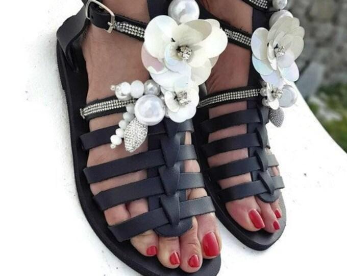 Greek sandals/gladiator sandals/strappy sandals/crystal sandals/sequined shoes/women shoes/genuine leather shoes/summer shoes/boho sandals
