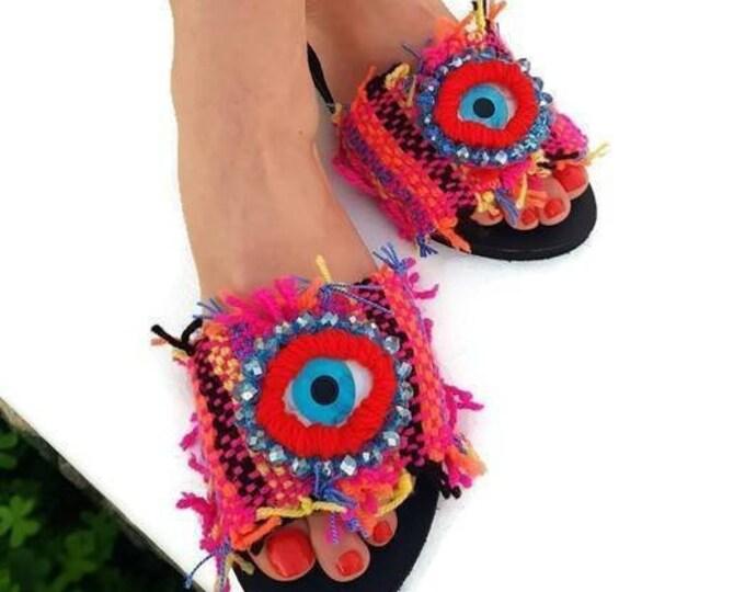 Greek sandals slides/evil eye sandals/boho sandals/handmade sandals/colorful sandals/ethnic sandals/embroidered/Greek evil eyes/crystal bead
