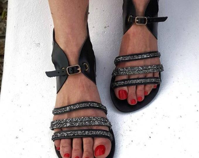 Greek sandals/gladiator sandals/strappy sandals/crystals sandals/boho sandals/feathers sandals/handmade sandals/black gladiator/leather shoe
