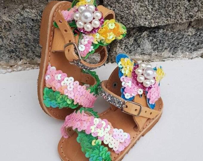 DHL FREE/girl sandals/Greek sandals/embellished/pearls sandals/sparkle/luxury sandals/babygirl shoes/baby shoes/Sequined sandals/handmade