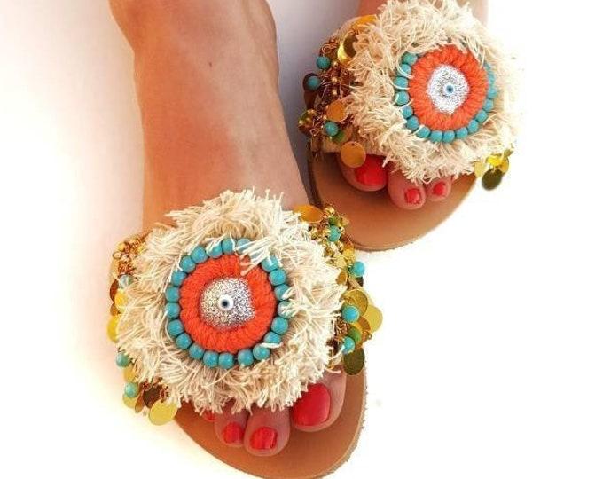 Greek sandals slides/boho sandals/evil eyes/handmade sandals slides/ethnic sandals/leather sandals/women shoes/summer shoes/fringes sandals