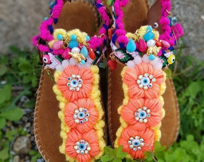 Comfortable anatomic shoes/Greek sandals/boho/bohemian/ethnic/gypsy sandals low platform/women shoes/walking shoes/strappy/handmade leather