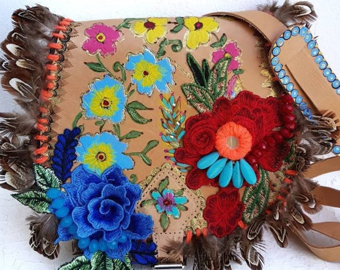 Greek bag/crossbody bag/shoulder leather bag/boho bag/embellished colorful bag/hand painted bag/bohemian bag/women bag/fashion/floral bag