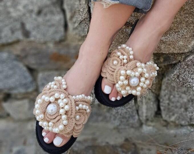 DHL FREE/Greek sandals/leather wedges/crochait sandals/handmade/pearls sandals/luxury wedges/women shoes/wedding/bridal/heel sandals/boho