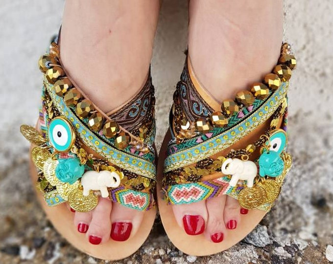 Greek sandals/strappy sandals/gladiator sandals /luxury sandals/women's shoes/bridal/wedding/boho sandals/Greek evil eye shoes/flat