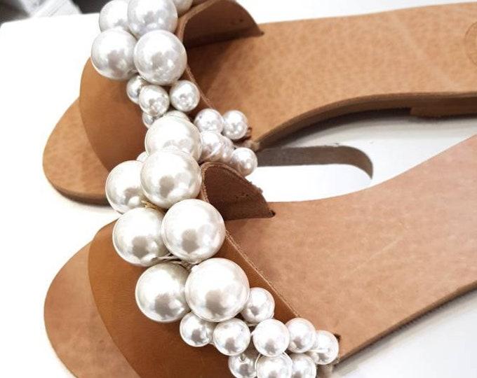 Greek sandals,slides,women shoes,wedding slides,luxury,pearl slides,leather sandals,handmade sandals,flats,handmade