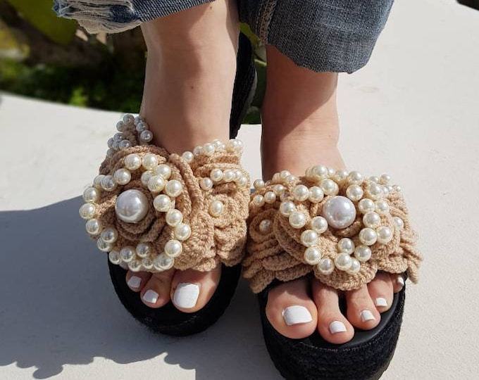 Greek sandals/leather wedges/crochait sandals/handmade/pearls sandals/luxury wedges/women shoes/wedding/bridal/heel sandals/boho