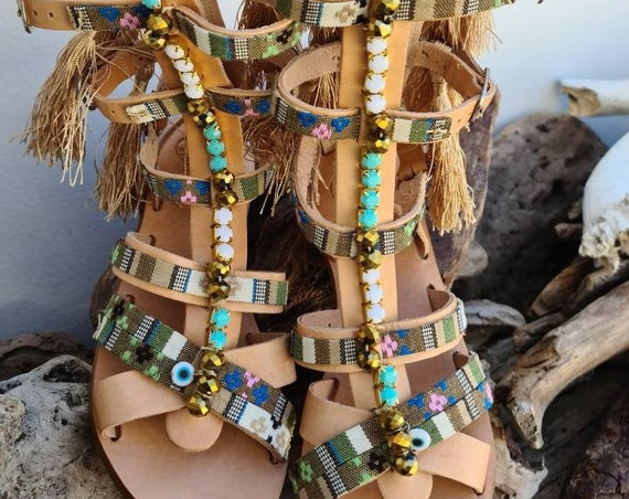 Greek sandals/boho sandals/gladiator sandals/boots/luxury sandals/strappy sandals/handmade sandals/ethnic sandals/women shoes/flats