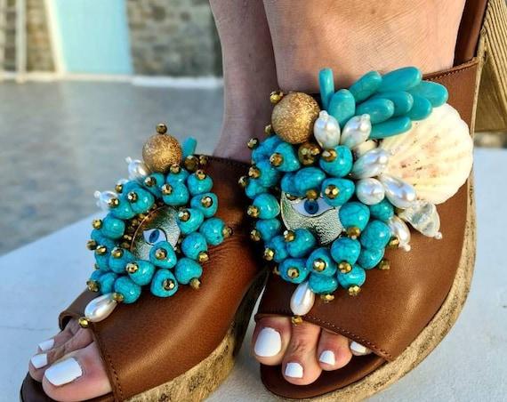 Heeled Sandals slides/chunky Heels sandals slides/bohemian shoes/boho Sandals with heels/evil eye handmade Sandals/genuine leather Sandals