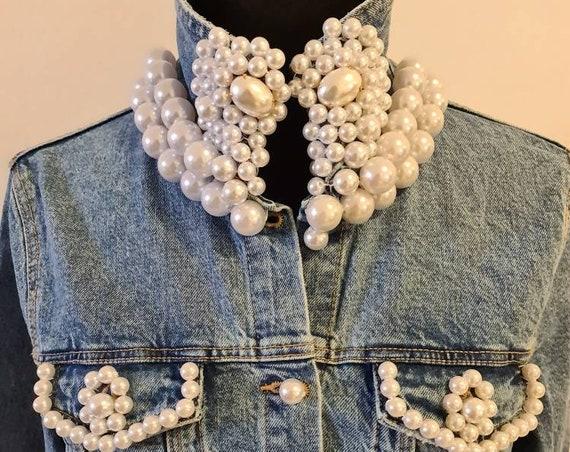 Pearls embroidery denim jacket/boho jeans jacket/handmade jacket/women jacket/embellished/luxury/unique/bohemian jacket/vintage/statement