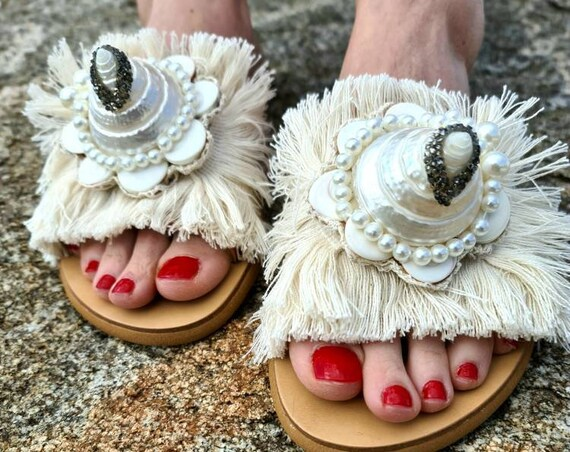 Greek sandals slides/shells Sandals/mother of pearls/pearls Sandals/handmade shoes/women shoes/bohemian Sandals/boho/luxury sandals/crystals