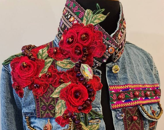 Boho embroidered jeans jacket/vintage/bohemian jacket/handmade jacket/luxury jacket/patch embroidery jacket/colorful jacket/unique jacket