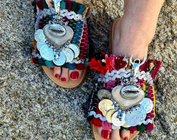 Greek sandals slides/ragrug/gypsy Sandals/boho Sandals/bohemian/shells/handmade shoes/women shoes/evil eyes sandals slides/colorful/ethnic