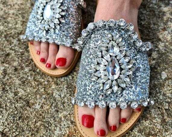 Greek sandals slides/crystals rhinestones sandals slides/sparkle/shiny/luxury sandals/wedding sandals/bridal sandals/women sandals slides