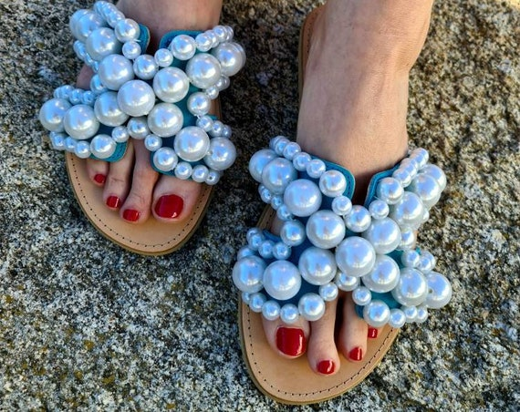 Greek leather Sandals/pearls Sandals slides genuine leather/turquoise Sandals slides with pearls/bohemian Sandals/luxury/handmade/wedding
