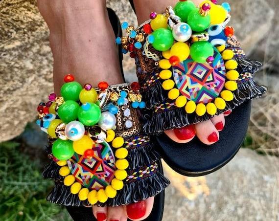 Greek handmade bohemian Sandals slides/colorful Sandals boho/gypsy Sandals slides/genuine leather/luxury sandals/women sandals slides/eviley