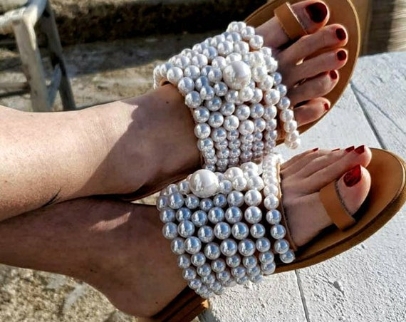 Greek sandals/pearls sandals/leather sandals/strappy sandals/bohemian sandals/handmade sandals/women sandals/leather sandals/flat sandals