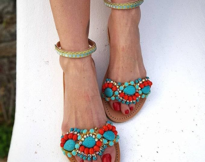 Greek sandals/handmade/boho sandals/ethnic/luxury/women shoes/colorful/crystals sandals/genuine leather sandals/sparkle/flats/summer shoes