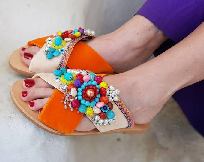 Greek sandals/embellised/beads sandals/genuine leather sandals/colorful sandals/crystals/sparkly/women shoes,handmade/Strappy