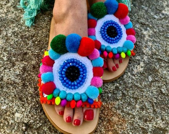 Greek sandals slides/pompoms sandals/evil eye/evileye Sandals/crystals beads slides/handmade shoes/embroidery slides/hand crocheted sandals