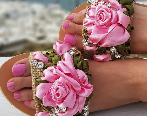 Greek sandals slides/embroidery/pink roses/handmade/crystal sandals/luxury sandals/wedding sandals/women shoes/summer shoes/embellished