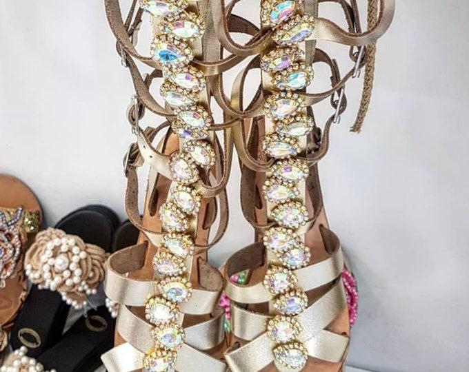 Greek sandals/gladiators/gold sandals/boots/crystals rhinestones/boho sandals/luxury sandals/handmade/women sandals/strappy sandals/bohemian