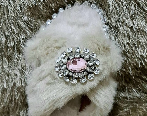 Faux fur slippers/winter slippers/crystals rhinestones slippers/sparkles slippers/embellished slippers/handmade slippers/women Slippers