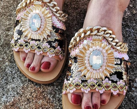 Greek sandals/slides/gypsy sandals/boho sandals/crystals sandals/animal print/handmade sandals/women shoes/bohemian/luxury sandals slides