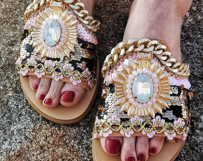 Greek sandals/slides/gypsy sandals/boho sandals/crystals sandals/animal print/handmade sandals/women shoes/bohemian/luxury sandals slides