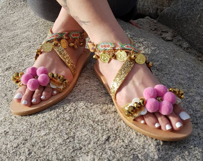 Greek sandals,pompom sandals,ethnic,gladiator sandals/strappy,boho sandals,women sandals leather shoes,pink,luxury sandals/Handmade/wedding