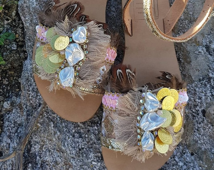 Greek sandals/gypsy sandals/pearls sandals/handmade sandals/boho sandals/feathers sandals/sequins sandals/women shoes/crystals sandals/coins