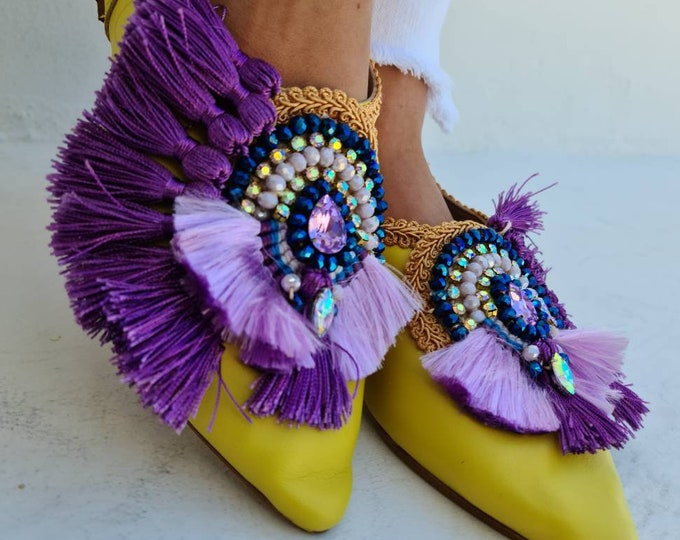 Greek leather shoes/fringes shoes/tassels shoes/crystals shoes/bohemian shoes/beads shoes/handmade shoes/boho shoes/women shoes/ethnic shoes