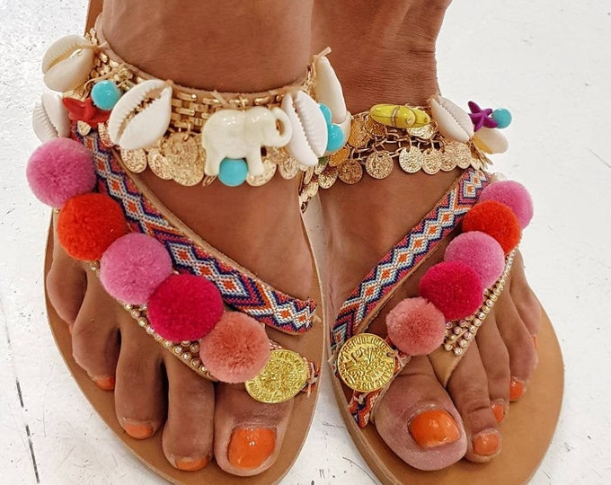Greek sandals/boho sandals/pompom sandals/crystal sandals/handmade sandals/gypsy sandals/handmade sandals/strappy sandals/shells sandals