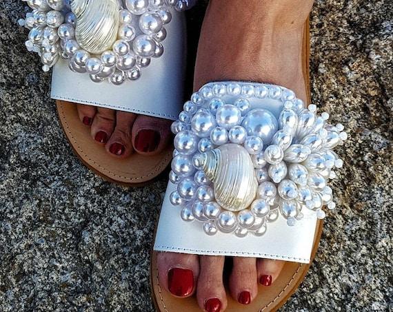 Greek sandals/pearls sandals/luxury sandals slides/white sandals/wedding sandals/bridal sandals/handmade sandals/shells sandals/leather