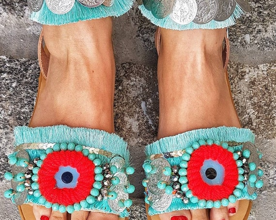 Greek sandals slides/evil eye sandals/boho sandals/handmade sandals/bohemian sandals/ethnic/crystal bead/boho sandals,/coins sandals/gypsy