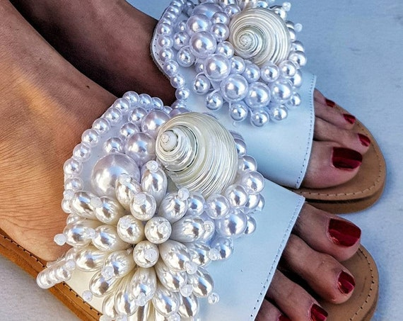 Greek sandals/pearls sandals/luxury sandals slides/white sandals/wedding sandals/bridal sandals/handmade sandals/shells sandals/leather