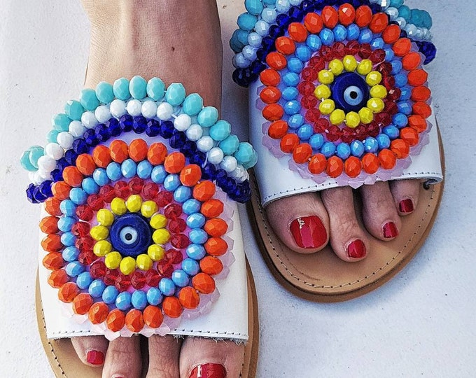 Greek sandals slides/handmade sandals/colorful sandals/boho sandals/bohemian sandals slides/gypsy sandals/crystals sandals/women shoes/flats