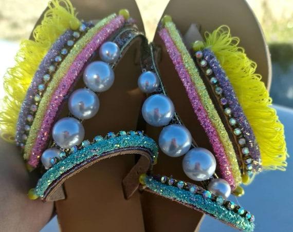 Greek sandals/strappy sandals/pearls sandals/colorful sandals/sparkle sandals/boho sandals/bohemian sandals/handmade sandals/crystal sandals
