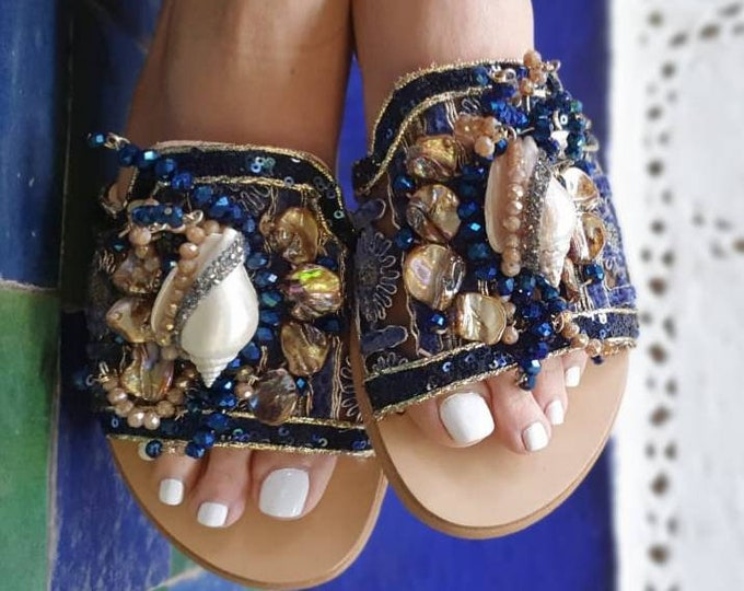 Greek sandals/slides/handmade sandals/crystal sandals/shell sandals/boho sandals/bohemian sandals/ethnic sandals/embroidery/leather sandals