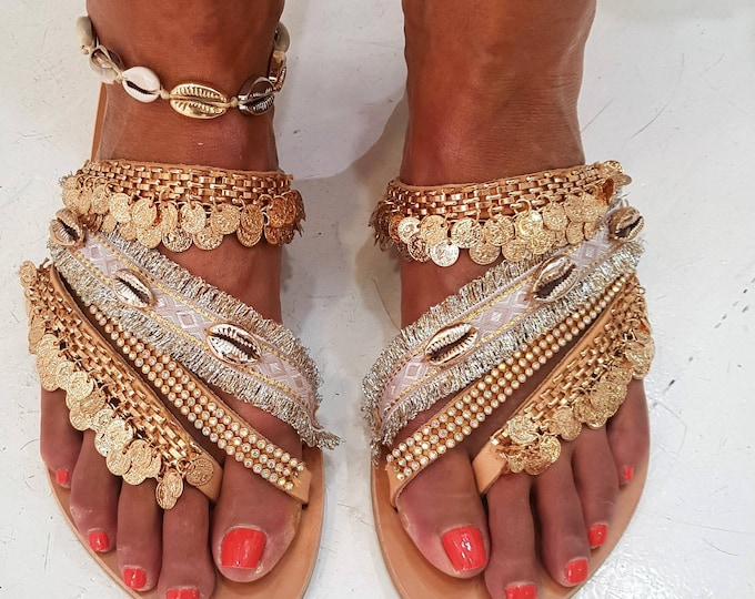 Greek sandals/pink gold/shell sandals/boho sandals/gypsy/crystals sandals/luxury sandals/wedding/leather sandals/handmade/strappy sandals